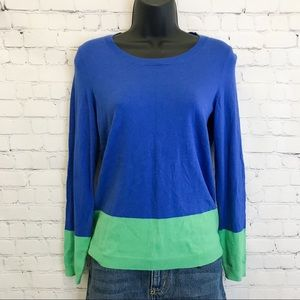 Talbots blue green long sleeve Pullover Sweater XS